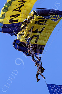 LEAPFROGS 00007 Two US Navy LEAPFROG Seal parachute team members demonstrate their skills, by Peter J Mancus