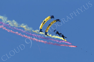 LEAPFROGS 00008 Two US Navy LEAPFROG Seal team parachutists open a US Naval Aviation Centennial airshow, by Peter J Mancus