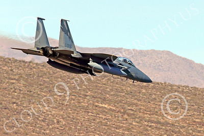 MLLF 00002 A McDonnell Douglas F-15 Eagle jet fighter, Califronia ANG 144th FIS GRIFFONS 82015, flies low on a training mission, military airplane picture by Peter J Mancus
