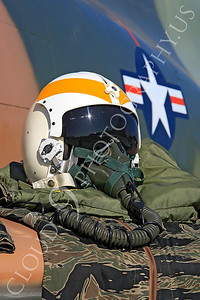 PH 00005 USAF pilot's helmet on wing of USAF McDonnell Douglas F-4 Phantom II by Peter J Mancus