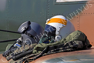 PH 00003 USAF pilots' helmets on wing of USAF McDonnell Douglas F-4 Phantom II by Peter J Mancus