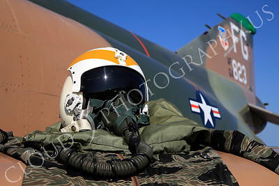PH 00002 USAF pilot's helmet on wing of USAF McDonnell Douglas F-4 Phantom II by Peter J Mancus