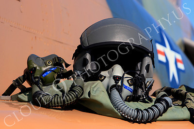 PH 00007 USAF pilot's helmet on wing of USAF McDonnell Douglas F-4 Phantom II by Peter J Mancus