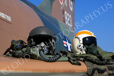 PH 00006 USAF pilots' helmets on wing of USAF McDonnell Douglas F-4 Phantom II by Peter J Mancus