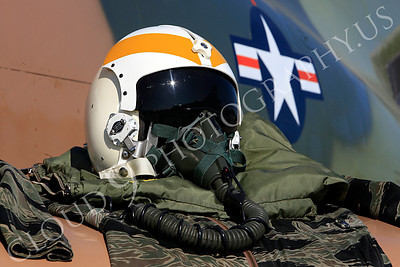 PH 00004 USAF pilot's helmet on wing of USAF McDonnell Douglas F-4 Phantom II by Peter J Mancus
