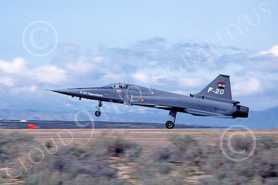 F-20 Tigershark 00003 A landing Northrop F-20 Tigershark prototype 820062 in Royal Thai Air Force markings Edwards AFB 3-1983 airplane picture by Michael Grove, Sr
