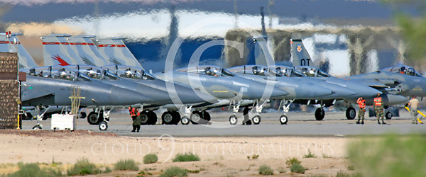 WSP-MA 00005 USAF and Air National Guard McDonnell Douglas F-15 Eagles air superiority fighters at Nellis AFB by Peter J Mancus