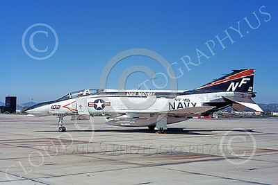 F-4USN 00851 A static McDonnell Douglas F-4B Phantom II US Navy 3045 VF-161 CHARGERS USS Midway one kill MiG KILLER NAS Miramar 4-1973 military airplane picture by Michael Grove