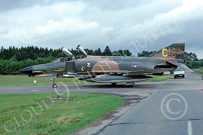 F-4USAF 00137 A taxing McDonnell Douglas F-4E Phantom II USAF 69249 86th TFS RS code SHARKMOUTH Ramstein 7-1980 military airplane picture by Peter Greve