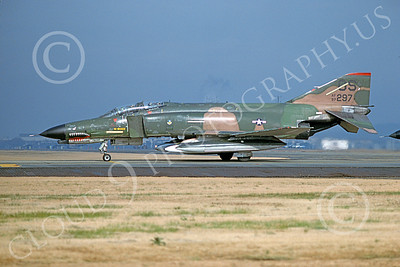 F-4USAF 00127 A taxing McDonnell Douglas F-4E Phantom II USAF 697297 36th TFS 51st CW OS code SHARKMOUTH Yokota AB 11-1981 military airplane picture by T Matsuzaki
