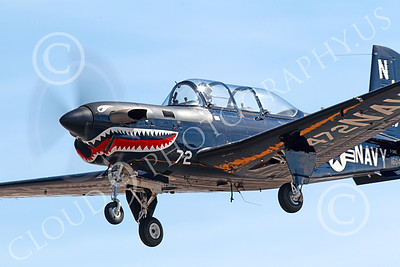 T-34USN 00018 Close up of a landing black sharkmouth US Navy Beech T-34G Mentor 0472 NJ code 10-2013 military airplane picture by Peter J Mancus