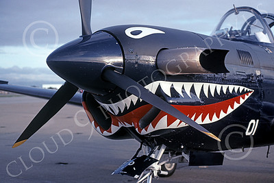 SM 00178 Close up of a static sharkmouth Beech T-34C Mentor USN 160509 5-2001 military airplane picture by Tom Chee