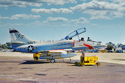 TA-4-USN-VX-4 001 A static Douglas TA-4J USN Skyhawk, 153674, VX-4 THE EVALUATORS, 4-1975 NAS North Island, military airplane picture by Stephen W  D  Wolf      BBB_9914     Dt