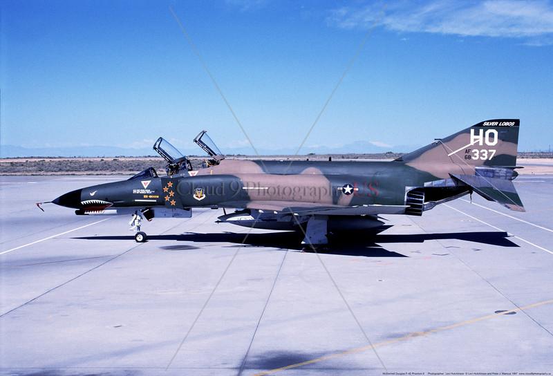 F-4E-USAF-20FS 003 A static sharkmouth cam five kills MIG KILLER McDonnell Douglas F-4E Phantom II USAF jet fighter 68337 20FS SILVER LOBOS 49FW HO tail code  9-1997 military airplane picture by Levi Hutchinson     Dwt.JPG