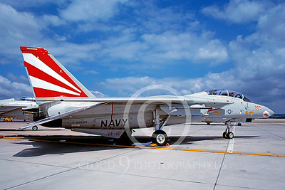 F-14USN 00105 Grumman F-14 Tomcat USN 160654 VF-111 SHARKMOUTH NAS Miramar April 1989 by Peter J Mancus