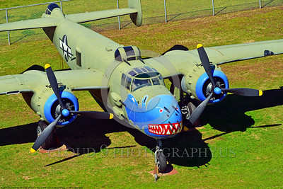 SM-B-25 003 An elevated angle for a colorful and different sharkmouth style on a North American B-25 Mitchell US WWII era medium bomber warbird picture by Peter J  Mancus