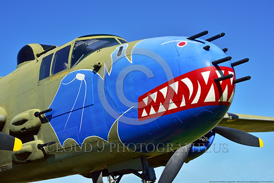 SM-B-25 001 A colorful and different sharkmouth style on a North American B-25 Mitchell US WWII era medium bomber warbird picture by Peter J  Mancus