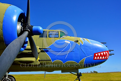 SM-B-25 005 A side view of a colorful and different sharkmouth style on a North American B-25 Mitchell US WWII era medium bomber warbird picture by Peter J  Mancus