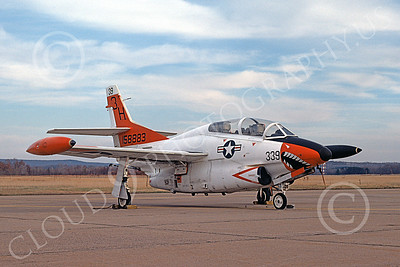 T-2USN 00045 A static sharkmouth North American Aviation T-2C Buckeye USN 158883 11-1974 military airplane picture by Michael Grove, Sr