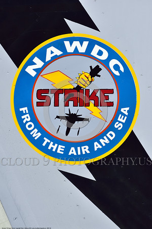 "SWCI 00035 This ""NAWDC STRIKE FROM THE AIR AND SEA"" artwork on the tail of a USN Boeing F-18 Super Hornet at NAS Fallon 4-2016 sends a stark warning to the USA's actual and potential enemies, military airplane picture by Peter J  Mancus"