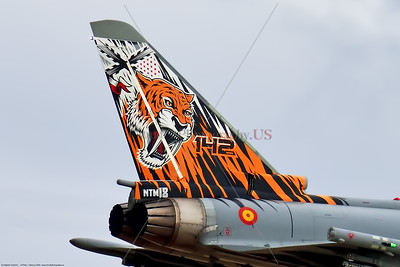 Tail-Eurofighter Typhoon-Spanish 001 Close up showing details of a sabre tooth tiger tail on a Eurofighter Typhoon Spanish Air Force jet fighter, military airplane picture by Peter J  Mancus     852_3716     Dt