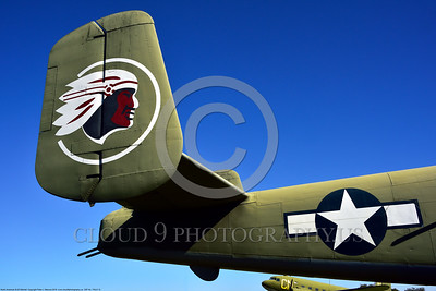TAILS 00015 Indian head on the tail of a North American B-25 Mitchell USA WWII era medium bomber warbird picture by Peter J  Mancus
