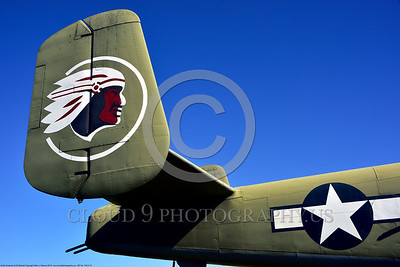 TAILS 00007 Indian head on the tail of a North American B-25 Mitchell USA WWII era medium bomber warbird picture by Peter J  Mancus