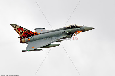 Eurofighter Typhoon-Spanish 001 A flying Eurofighter Typhoon Spanish Air Force jet fighter with rare sabre tooth tiger tail makings, at Nellis AFB, military airplane picture by Peter J  Mancus     DSC_6785     Dt