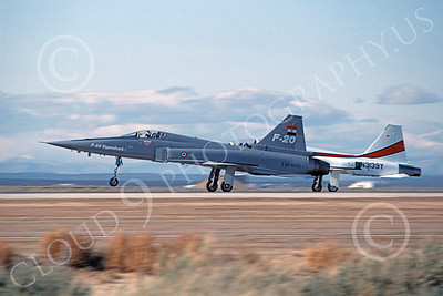 F-20 Tigershark 00005 A landing Northrop F-20 Tigershark prototype 820062 Edwards AFB 3-1983 airplane picture by Michael Grove, Sr