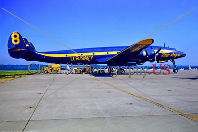 BA-C-121 002 A static blue and yellow Lockheed C-121J Constellation USN Blue Angels 8 NAS Willow Grove 6-1968 military airplane picture by Keith Hudson via Stephen W  D  Wolf coll      853_6701     DoneWT
