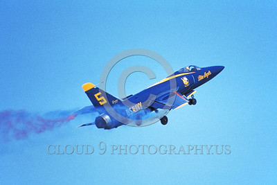 BA-F11F 00004 A flying Grumman F11F Tiger USN Blue Angels 2-1979 military airplane picture by Michael Grove, Sr