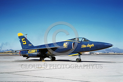 BA-F11F 00003 A static Grumman F11 Tiger USN Blue Angels D-M AFB 3-1969 military airplane picture by Peter B Lewis DONE