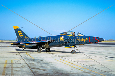BA-F11F 006 A static Grumman F11F Tiger USN 141790 Blue Angels Number 2 8-1967 military airplane picture by Peter B Lewis     DONEwt