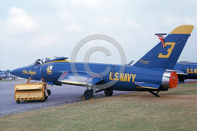 BA-F11F 00005 A static Grumman F-11F Tiger jet fighter USN 141850 Blue Angels 2-1979 military airplane picture by Michael Grove, Sr