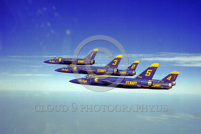 BA-F11F 00002 A flying formation of Grumman F11F Tiger USN Blue Angels military airplane picture by Clay Janson