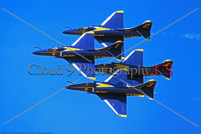 BA-A-4 00002 A USN Blue Angels flying Douglas A-4 Skyhawk diamond formation 1982 military airplane picture by Peter J Mancus     DONEwt copy