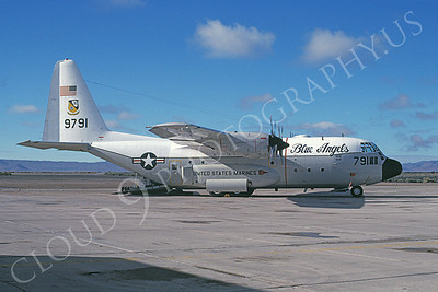 BA-C-130 00050 A static Lockheed C-130 Hercules USMC 9791 NWC China Lake 4-1988 airplane picture by Joe Acuna