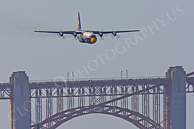 BA - C-130 00044 Lockheed C-130 Hercules USN BLUE ANGELS flys over the Golden Gate Bridge in San Francisco by Peter J Mancus
