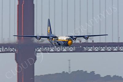 BA - C-130 00028 Lockheed C-130 Hercules USN BLUE ANGELS flys past the Golden Gate Bridge in San Francisco by Peter J Mancus