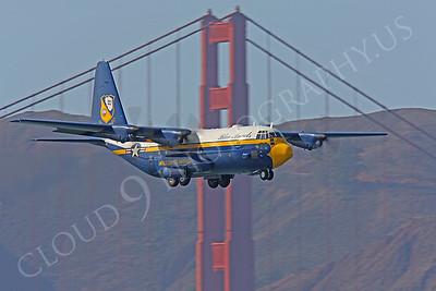 BA - C-130 00032 Lockheed C-130 Hercules USN BLUE ANGELS flys past the Golden Gate Bridge in San Francisco by Peter J Mancus