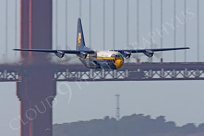 BA - C-130 00050 Lockheed C-130 Hercules USN BLUE ANGELS flys past the Golden Gate Bridge in San Francisco by Peter J Mancus