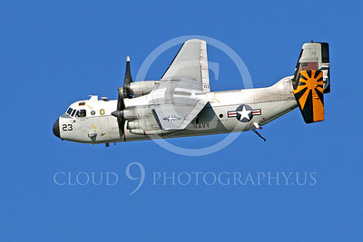 C-2 00004 An in-flight US Navy Grumman C-2 Greyhound cargo utility aircraft with a deployed tailhook, by Peter J Mancus