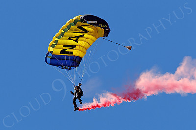 LEAPFROGS 00004 A single US Navy Seal LEAPFROG descends trailing reddish smoke, by Peter J Mancus