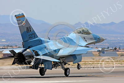 AGGR 00037 A USAF Lockheed Martin F-16 Fighting Falcon jet fighter, 86273 WA code, 57th Wing AGGRESSOR, lands at Nellis AFB, military airplane picture, by Carl E Porter