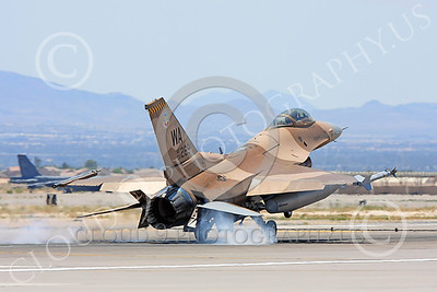 AGGR 00025 A USAF Lockheed Martin F-16 Fighting Falcon jet fighter, 86269 WA code, 57th Wing AGGRESSOR, on final to land at Nellis AFB, military airplane picture, by Carl E Porter