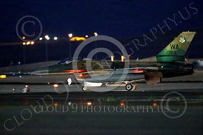 AGGR 00029 A taxing USAF Aggressor Lockheed F-16 Viper jet fighter during a night Red Flag mission Nellis AFB 7-2014 military airplane picture by Peter J Mancus
