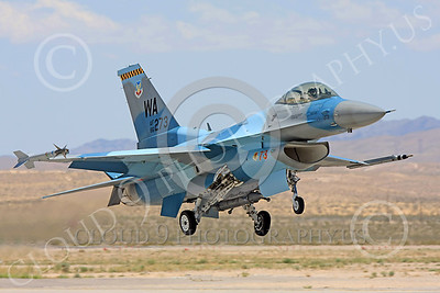 AGGR 00140 A USAF Lockheed Martin F-16 Fighting Falcon jet fighter, 86273 WA code, 57th Wing AGGRESSOR, on final to land at Nellis AFB, military airplane picture, by Carl E Porter