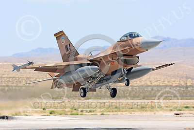 AGGR 00134 A USAF Lockheed Martin F-16 Fighting Falcon jet fighter, 86269 WA code, 57th Wing AGGRESSOR, on final to land at Nellis AFB, military airplane picture, by Carl E Porter