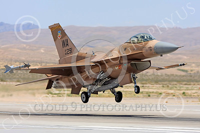 AGGR 00088 A USAF Lockheed Martin F-16 Fighting Falcon jet fighter, 86291, WA code, 57th Wing AGGRESSOR, on final to land at Nellis AFB, military airplane picture, by Carl E Porter