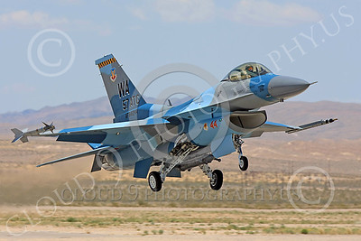 AGGR 00166 A USAF Lockheed Martin F-16 Fighting Falcon jet fighter, 841244, WA code, 57th Wing AGGRESSOR, on final to land at Nellis AFB, military airplane picture, by Carl E Porter